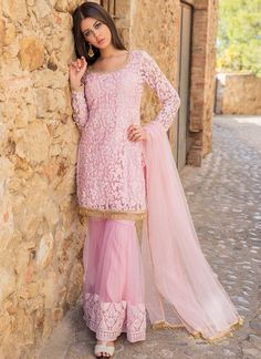 Light Pink Thread Embroidered Gharara Suit