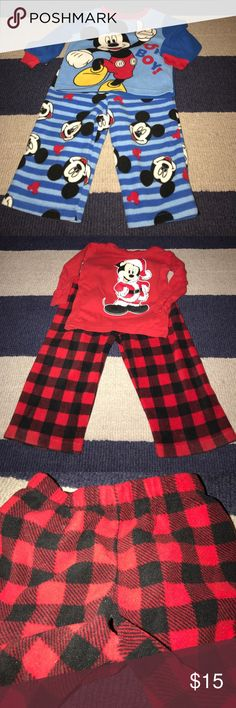 Disney Mickey Mouse Pajamas Bundle Bundle: 1- Mickey fleece  2- Mickey Christmas. **note pants have a little hole** see pictures.  Smoke and pet free home. Disney Pajamas Pajama Sets