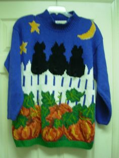 Halloween Black Cat Sweater by Marisa Christina Hand Knitted Petite Small | eBay