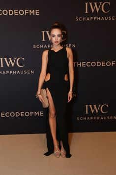 Xenia Tchoumi on the red carpet at the IWC SIHH gala event on January 17, 2017 in Geneva wearing the new IWC Da Vinci collection.