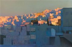 Andrew Gifford - View From the Wild Jordan Cafe, Dusk - 2011 Oil on canvas 48 x 72 ins x 183 cm) Contemporary Landscape, Urban Landscape, Landscape Art, Landscape Paintings, Contemporary Artists, Paintings I Love, Beautiful Paintings, Art Paintings, Urban Painting