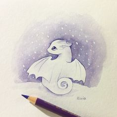 Tiny Dragon In Snow by AlviaAlcedo on DeviantArt Cute Animal Drawings, Kawaii Drawings, Art Drawings Sketches, Disney Drawings, Cool Drawings, Fantasy Drawings, Cute Dragon Drawing, Dragon Sketch, Cute Fantasy Creatures