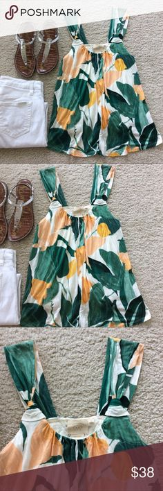 """{Anthropologie} Knotted Scoopneck Tank {Anthropologie} Knotted Scoopneck Tank by Vanessa Virginia. Super cute summer staple💕 Floral design. Scoops in the back. Lined. Layingmflat approx 27"""" long, approx 14"""" pit to pit. 100% rayon. Size XS. NWT. #1082 Anthropologie Tops Tank Tops"""