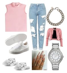 """""""Pink 'n' White"""" by reinaxmari ❤ liked on Polyvore featuring Topshop, RED Valentino, Puma, Alexander McQueen, FRACOMINA, Michael Kors and Glitzy Rocks"""