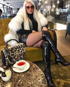 High boots 🖤🖤🖤 white mini and black tights! ~ Rate the look Thigh High Boots, High Heel Boots, Heeled Boots, High Leather Boots, Leather Pants, Sexy Outfits, Cool Outfits, Fur Fashion, Womens Fashion