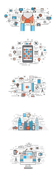 Thin line flat design of Apps Development,Branding, investment, Webdesign and Email marketing- Modern vector illustration concept, isolated on white background Web Design, Line Design, Vector Design, Icon Design, Design Art, Flat Design Icons, Line Illustration, Graphic Design Illustration, Digital Illustration