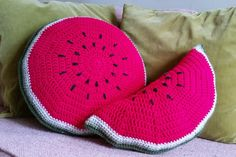 Crochet Watermelon Pillows by TheArtistryOwl on Etsy