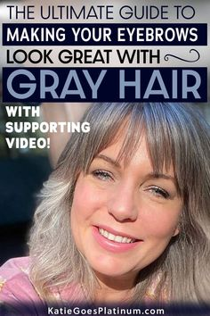 If you have gray hair, you might be asking yourself: What color eyebrows look best with gray hair? How do I trim unruly eyebrows? How do I fill in sparse eyebrows? How do I choose the best eyebrow shade and what eyebrow products are the best for women with gray hair? This article answers all those questions and more! Grey Hair Eyebrows, Sparse Eyebrows, Bushy Eyebrows, How To Color Eyebrows, Natural Eyebrows, Eyebrow Shading, Eyebrow Makeup, Beauty Makeup, Grey Hair Don't Care