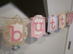 Shabby chic vintage Cute as a Button banner baby by thisNthat1109, $21.50