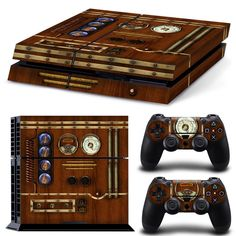 PS4 Playstation 4 Console Skin Decal Sticker Old Wood Clock Custom Design Set #ZoomHit
