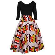 Chidera African Print Midi Circle Skirt (Gray/Orange/Gold) – D'IYANU