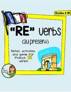 This 9-page product includes everything you need to introduce RE verbs to your French students.Pages include:-RE Verbs Notes (conjugations and common RE verb vocab list)-RE Verbs Worksheet-I have, who has game with teacher instructions-Answer Key*Note: All pages are included in my Regular Verbs Mini-UnitYou may also be interested in:ER VerbsIR Verbstre packAvoir PackFaire pack lcole full unitLes Sports FULL UNITJe me presente full unitLa Musique UnitLa Nourriture UnitLes Vtements Full…