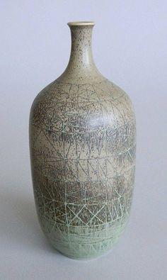 Stig Lindberg ceramic vase, marked on bottom.  6''h