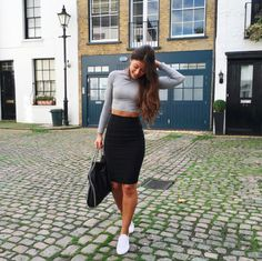 Mimi Ikonn | Black pencil skirt with gray crop top, ASOS white sneakers, & black Stella McCartney Falabella shoulder bag. | OOTD