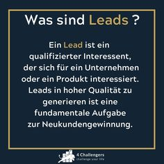 """4Challengers on Instagram: """"Was sind Leads ?🤔 #4challengers #leads #coaching #highendmasterclass"""" Master Class, Entrepreneurship, Online Marketing, Coaching, Led, Instagram, Not Interested, Knowledge, Things To Do"""