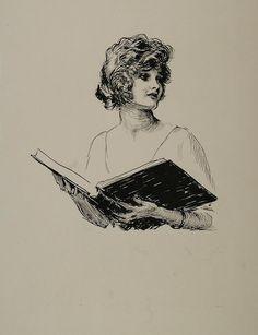 Sketch Young Woman Lady Book. Print Portrait B/W , 1921.