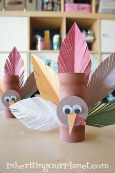 Turkey Toilet Paper Roll Craft - DIY Inspired As you may already know, I hoard toilet paper rolls. When you have young kids, you never know when the ultimate toilet paper roll craft may strike! After all I HAVE made quite a few toilet paper roll Thanksgiving Crafts For Kids, Fall Crafts, Halloween Crafts, Holiday Crafts, Rock Crafts, Toddler Crafts, Preschool Crafts, Diy Crafts For Kids, Paper Towel Roll Crafts