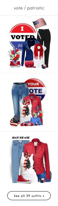 """vote / patriotic"" by tinkertot ❤ liked on Polyvore featuring rock, Vote, Topshop, Doublju, Witchery, J.Crew, Converse, Dolce&Gabbana, Smathers & Branson and Grandin Road"