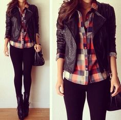 Leather jacket, checkered shirt and leggings. Simple and comfy.