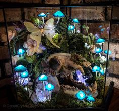 Bear skull myshroom lamp display. Vulture culture Bear Skull, Mushroom Decor, Mushroom Lights, Fairy Room, 3d Fantasy, After Life, Room Ideas Bedroom, Aesthetic Room Decor, Fairy Houses