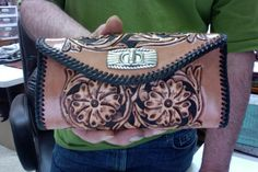 Wallet  /  Women / Western / Leather / Custom / Clutch / Hand Carved and Tooled  / Hand Made / Sheridan / Woman  / Checkbook / Cover