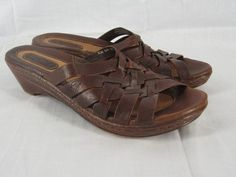 Born Brown Leather Braided Slide Sandals 7 38 M
