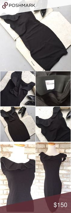 Red VALENTINO little black dress jersey sheath lg Beautiful and classic is this Red Valentino little black dress. Very flattering with a jersey style material and a sheath cut. This has a ruffled neck and back line. Open back design as well see pictures. Would hit right above knee, amazing pristine condition. Size large. Material: viscose, nylon, spandex. RED Valentino Dresses Midi