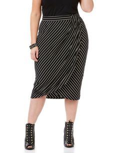 Curvy Collection Linear Wrap Skirt | Catherines This bodycon skirt is designed to show off your shape. A flat waistband gives a smooth fit, while the pleated wrap detail shows off the asymmetrical stripe design. The on-trend midi length is easy to dress up or down. For the smoothest look, we recommend wearing our Seamless Hi-Waist Shaping Brief underneath. Pull-on faux wrap design. All of the pieces from our Curvy Collection have a body-conscious fit.