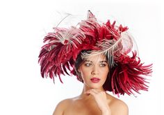 Envol de Plumes ON SALE at www.madineurope.eu - #headware #fashion #elegant #handmade #hat using #sinamay and #feathers of #coque and #ostrich
