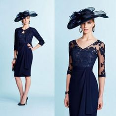Navy blue mother of the bride dresses Calf lace& chiffon prom gown free jacket
