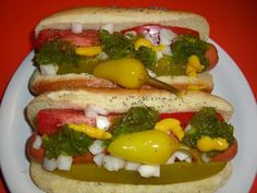 A long-time family favorite. The authentic stands use Vienna Beef franks and buns with poppy seeds and that trademark green relish and yellow mustard. If youre not fortunate enough to live near a stand (like us), this home version does nicely (with my own preferred changes of course)! The natural casing frankfurters have a pleasant  pop  when you bite them and are far superior to normal hot dogs.