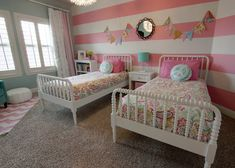 Cute Little Girl Bedroom Design Ideas With Funky Bedding Motif In Vintage White Bed Frame And Nice Carnival Flag Decoration On Gorgeous Pink White Striped Wall Also Gray Rug On Pretty Chevron Floor Pattern Girls Room Design, Girl Bedroom Designs, Girls Bedroom, Bedroom Decor, Bedroom Ideas, Bedroom Wall, Horse Bedrooms, Room Girls, Nursery Design