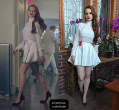 Cheryl Blossom in a custom white skirt and top by the costume department on Riverdale Cheryl Blossom Riverdale, Riverdale Cheryl, Riverdale Season 1, Fashion Tv, Fashion Outfits, Fashion Clothes, Girly Outfits, Cute Outfits, Inspired Outfits