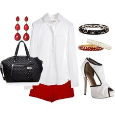 Red, White, and Black Outfit
