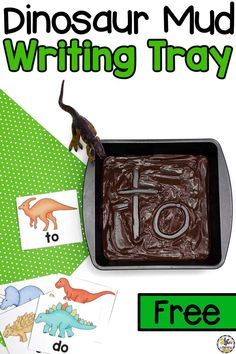 This Dinosaur Mud Sight Word Writing Tray is a hand-on, sensory activity for kids to use to practice reading, spelling, and writing their sight words. Dinosaurs Preschool, Dinosaur Activities, Preschool Writing, Dinosaur Crafts, Spelling Activities, Sight Word Activities, Preschool Learning Activities, Kids Writing, Hands On Activities