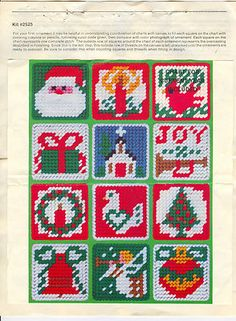 Studio 12 Needlepoint Christmas 30 Ornaments Plastic Canvas Kit some completed