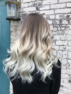 Platinum blonde balayage ombre with natural root by @amy_ziegler
