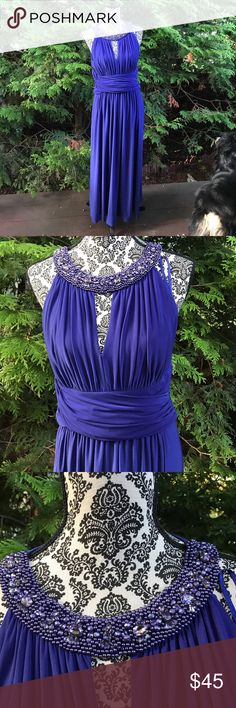 Evening special occasion jersey knit dress Dazzle the venue with this flattering yet comfortable indigo blue purple dress with beaded neckline n plunging v. The cummerbund waist fades inches on your waist! Eliza J Dresses Maxi