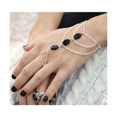 Boho Slave Bracelet Hand Bracelet Piece Ring Hipster Silver Chain Bohemian Boho Three Ivory Black Onyx Bead Chevron Hand from FunnyPeopleCo on Etsy Hand Jewelry, Body Jewelry, Wire Jewelry, Jewelry Crafts, Beaded Jewelry, Jewelry Bracelets, Jewelery, Boho Jewellery, Bohemian Jewelry