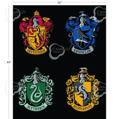 Panel depicting the Gryffindor, Ravenclaw, Hufflepuff, and Slytherin house crests arranged on a black background. Grab your wand and broomstick and head off into the Wizarding World of Harry Potter wi Harry Potter Stoff, Harry Potter Fabric, Harry Potter Diy, Harry Potter Hogwarts, Ravenclaw, Estilo Harry Potter, Hogwarts Houses Crests, Harry Potter Collection, Harry Potter Birthday