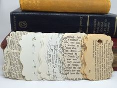 21 Uses For Old Books gift tags out of book pages. Add a center paper for clean space to write? The post 21 Uses For Old Books appeared first on Paper Ideas. Old Book Crafts, Book Page Crafts, Book Page Art, Old Book Pages, Old Books, Craft Books, Altered Books Pages, Book Projects, Craft Projects
