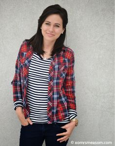 xomrsmeasom xo mrs measom plaid stripes denim black hair dark hair medium length hair short hair casual outfit winter outfit fall outfit warm outfit pop of color red navy blue nautical