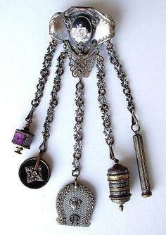Porcelain Cupid Sterling Silver Chatelaine from Ruby Lane Antiques