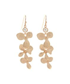 $29.99 Look at this #zulilyfind! Pink Cubic Zirconia & Rose Gold Orchids Drop Earrings #zulilyfinds