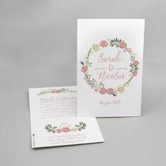 Faire-part mariage Sarah et Nicolas cm Tons Clairs, Decoration, Place Cards, Place Card Holders, Wedding, Flower Crowns, Creative Crafts, Weddings, Decor