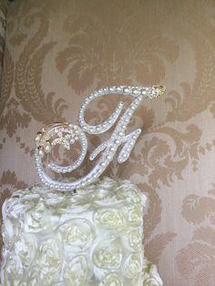 F monogram  pearl cake topper custom cake by TheCrystalFlower