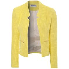 True Decadence Textured Cropped Blazer, Yellow (£20) ❤ liked on Polyvore featuring outerwear, jackets, blazers, tops, coats, textured jacket, long sleeve crop jacket, cropped blazer, cropped jacket and pocket jacket
