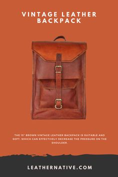 "The 15"" Brown Vintage Leather Backpack is suitable and soft, which can effectively decrease the pressure on the shoulder. You can also adjust the length of the arm strap according to your needs. Small Leather Bag, Leather Purses, Vintage Leather Backpack, Brown Backpacks, Leather Bags Handmade, Classic Leather, 5 D, Traveling By Yourself, Shoulder"