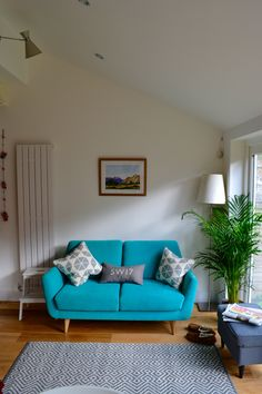 turquoise rucola two seater sofa with john lewis grey and white rug turquoise - Sofas For Kitchen Diner