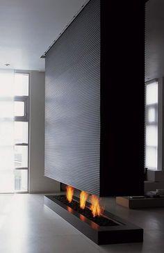 A minimalist interior design featuring a modern black fireplace. Minimalist Furniture, Minimalist Interior, Modern Interior Design, Minimalist Design, Interior Architecture, Design Interiors, Minimalist Living, Contemporary Interior, Modern Minimalist